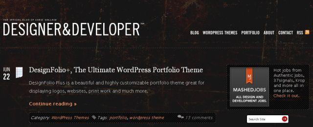 Dark, grunge WordPress blog theme design