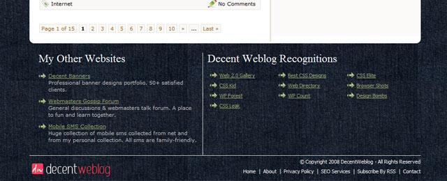 Decent Weblog footer design